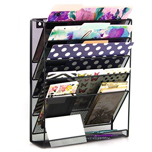 Premium Wall Hanging File Organizer - Wall Mounted Mesh Metal File Holder with 5 compartments saves space and keeps your desk always clear (Cabinet Desks File)