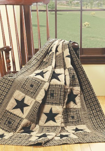 QUILTED THROWS BEDDING VINTAGE STAR BLACK DESIGN 100% COTTON FABRIC 50-INCH X 60-INCH IHF HOME DECOR ()