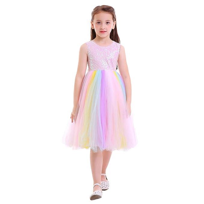 FYMNSI Niñas Unicornio Vestido de Princesa Disfraces Infantil Sin Mangas Arco Iris Tutu Largo Vestido Cumpleaños