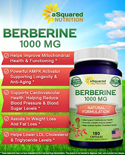 Pure Berberine 1000mg Supplement - 180 Veggie Capsules, Natural Berberine Hydrochloride HCL Plus, Max Strength 1000 mg (2X 500mg), Potent Vegan Extract for Healthy Blood Sugar Levels & Blood Glucose