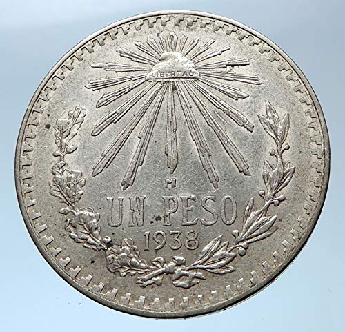 (1938 MX 1938 MEXICO Large w Aquila Liberty Cap Mexican An coin Good Uncertified)