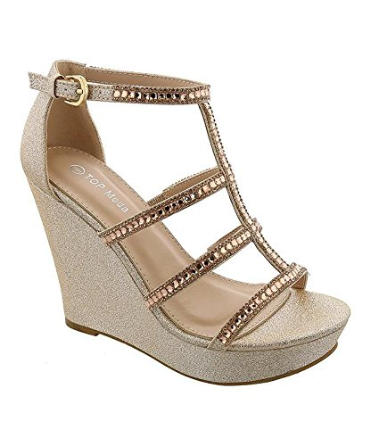 TOP Moda Jessie-36 Women's Wedge Sandal,Champagne,7.5
