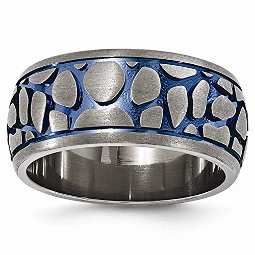 Edward Mirell Blue Anodized 10mm Brushed Finish Titanium Wedding Band - Size 14 by Edward Mirell