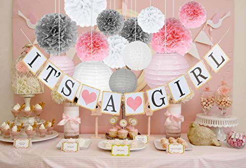 Baby Shower Decorations for Girl Set Of Pink, White & Grey Gender Reveal Party Supplies kit – It's A Girl Banner, Tissue Flower Pom Poms, Paper Lanterns & String For ()