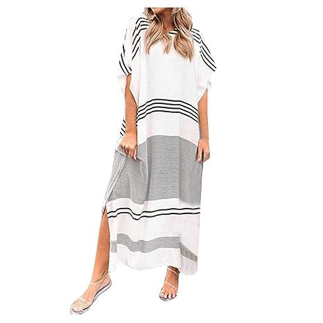 Oksea - Vestido Largo para Mujer, Estilo Bohemio, Cuello en ...