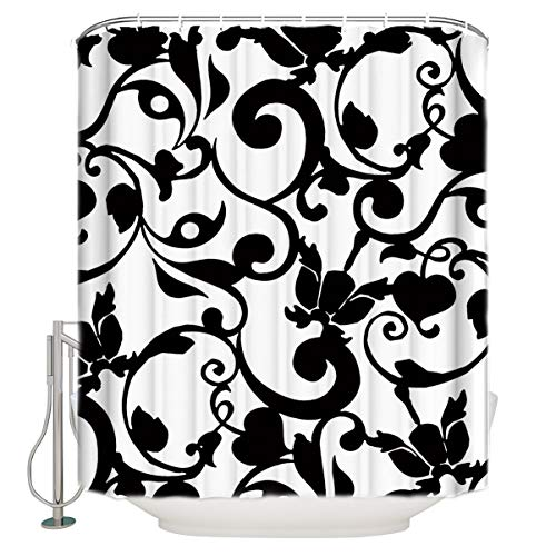 Arts Language Custom Shower Curtains Black and White Brocade Floral Swirls Print Pattern Kids Bathroom Decor Waterproof Polyester Fabric with Free Hooks 72