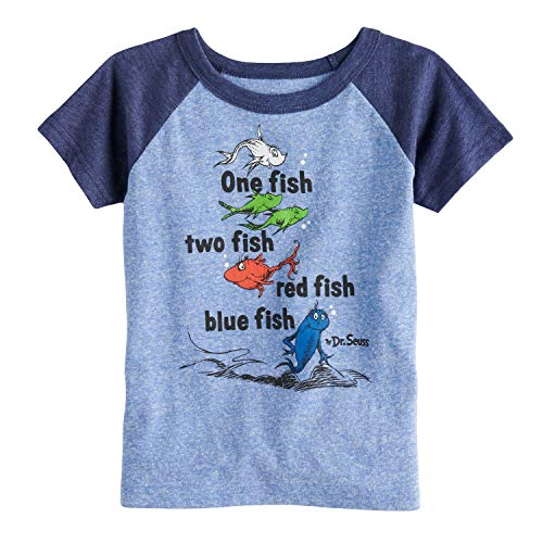 Jumping Beans Toddler Boys 2T-5T Dr. Seuss One Fish, Two Fish Raglan Graphic Tee 4T Royal Navy Heather for $<!--$9.00-->