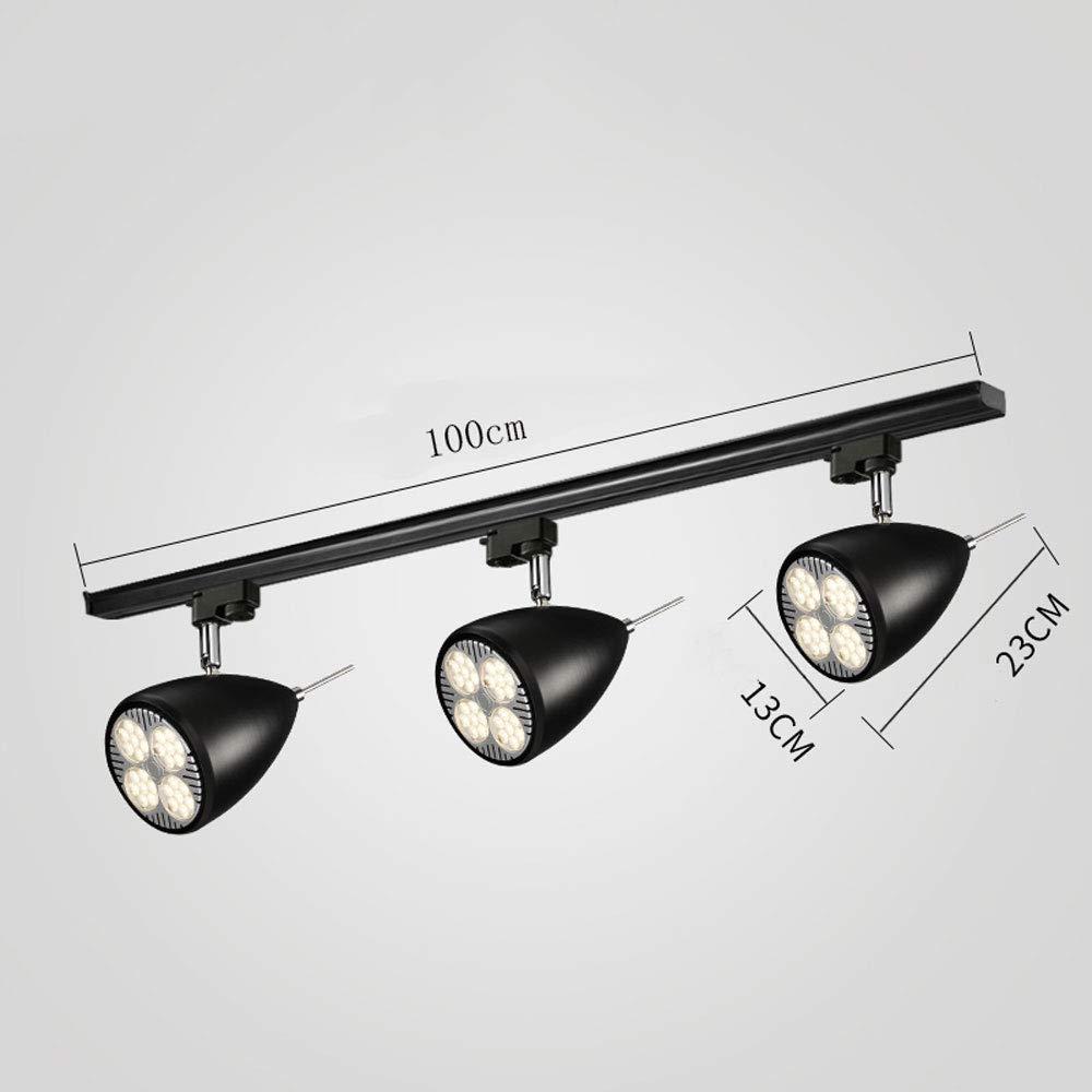 ZJⓇ Spotlight Track Light - Nordic Aisle Lights - Two Colors (Black/White) && (Size : Black - 13-3 Heads in Diameter)