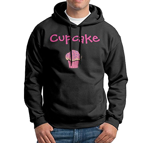 Obachi Sweet Cupcake Men's Long Sleeve Pullover Hooded Sweatshirt Black Size L ()
