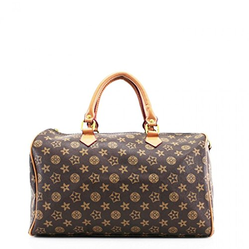 Women Duffel Style Handbag Ladies Barrel Shape Twin Grab Handle Bags Shoulder Travel Gym Bag Brown Floral