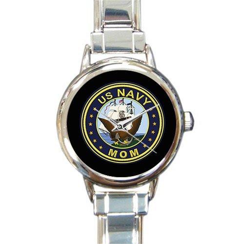 Mom Italian (Mother's Day Gifts USN US Navy MOM Emblem Logo Women's Italian Charm Watch)