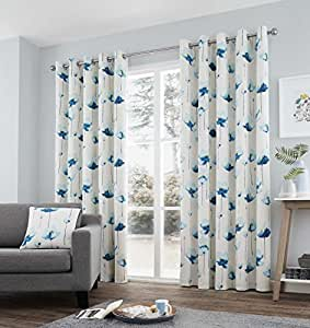 "HAND-PAINTED STYLE WATERCOLOUR POPPIES TEAL LINED 66"" X 54"" - 168CM X 137CM RING TOP CURTAINS DRAPES"