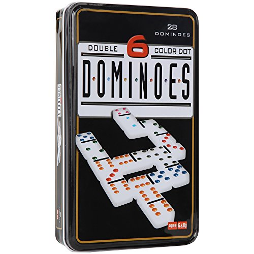 Home-X Double 6 Color Dot Dominoes, Includes a Storage Case Perfect For Fun On-the-Go, 28 Piece Set () Double Six Dominoes Tin