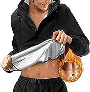 Ursexyly Sauna Suits for Women Weight Loss Half Zip Workout Running Jacket Hooded Hot Sweat Suits Sauna Pants