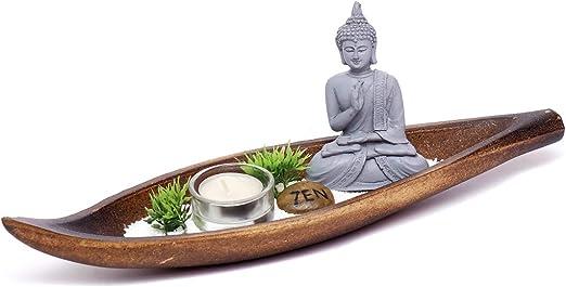 Brillibrum Buddha Zen Jardín Miniatura Steinfigur Thai Buddha Deko Set con Teelicht Buddha Deko: Amazon.es: Hogar
