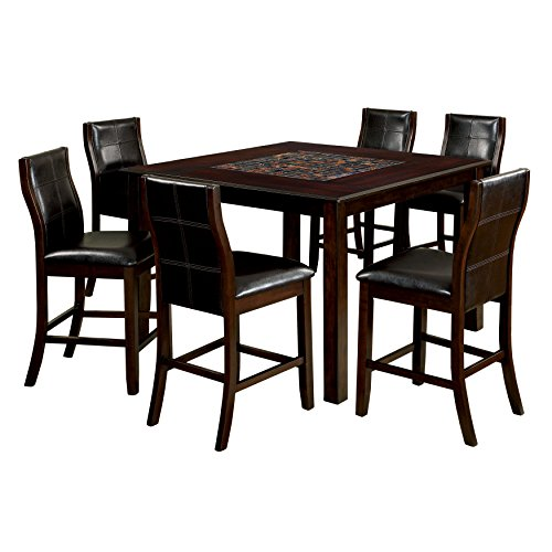 (HOMES: Inside + Out IDF-3669PT-7PC-SET Windsor 7 Piece Counter Height Dining Set)