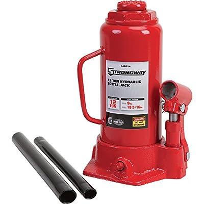Strongway Hydraulic Bottle Jack - 12-Ton Capacity, 9in.-18 5/16in. Lift Range