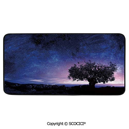 Print Door Mat, Indoor Floor Area Carpet Compatible Bedroom,Living Room,Children, Playroom, Bathroom,Night Sky,Starry Sky Cosmos Stars with Single Bush Tree Among Rocks,39