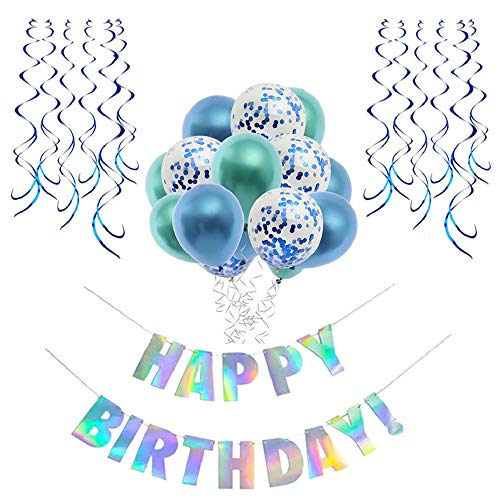 Sandy Birthday Decorations,Blue Birthday Decorations,Birthday Party Supplies Kit for Boy and Girl,Happy Birthday Banner,Confetti Balloons,Hanging Swirls,16th 18th 21st 30th 40th 50th 60th Birthday Decoration,Balloons - Blue, Green]()