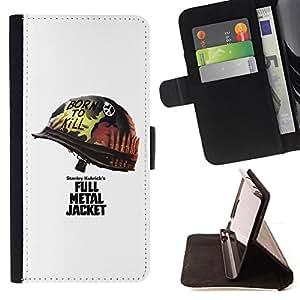 - Metal Jacket Poster - - Prima caja de la PU billetera de cuero con ranuras para tarjetas, efectivo desmontable correa para l Funny HouseFOR HTC Desire 820