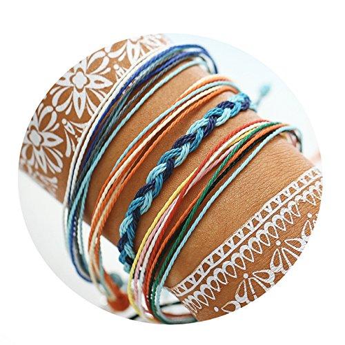 FINETOO Braided Rope Bracelet Set Handmade Waterproof Wrap Bracelet String Bracelet for Woman ()