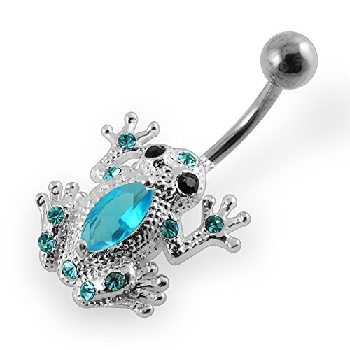 Light Blue Multi Crystal Gemstone Frog Design 925 Sterling Silver Belly Ring Body jewelry