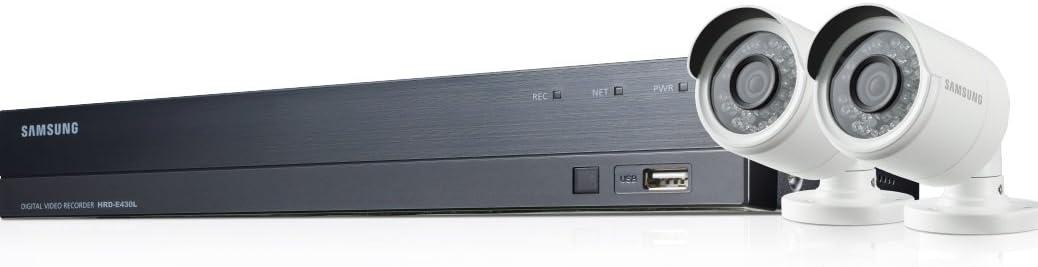 Samsung - SDH-B73023BFP - Kit de Video vigilancia con Grabador 4 Canales y 2 cámaras, Color Blanco