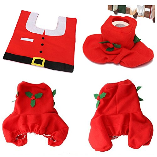 low-cost 1 Set/3pc Fancy Happy Santa Toilet Seat Cover Rug Bathroom Set Decoration Rug Christmas Xmas Natal Navidad Decoration -All U Need