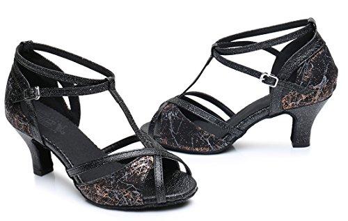Tda Damesschoenen Comfort Prom T-strap Bloemen Synthetische Tango Salsa Jazz Rumba Latin Dance Trouwschoenen 6cm Hak Zwart