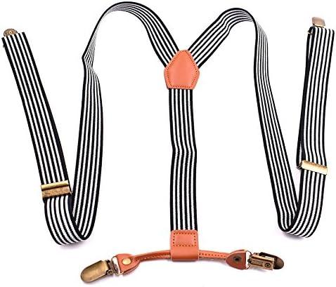 LLZGPZBD Tirantes/Tirantes De Moda Hombre Tirantes 4 Clips Correa De Cuero para Adultos Tirantes para Hombre Regalo para Niño Niña 2.5X120Cm