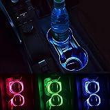 Leoie Universal Solar LED Light Car Cup Holder Bottom Pad Mat Interior Decoration 2 Pack (Blue)