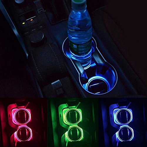 Ocamo Solar Car Cup Mat - Universal LED Cup Holder Lights, 2 Pack Solar LED Light Cup Holder Bottom Pad Mat Interior Decoration For All Cars
