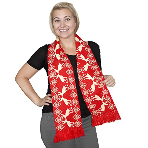 Pooping Moose Scarf- FunQi, Red (Ugly Christmas Scarf)