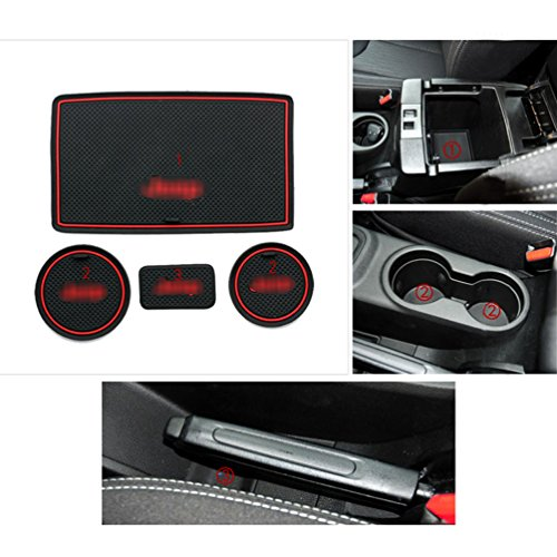 ROCCS Red Interior door Cup Holder Mats Anti-dust Non-slip Mat For Jeep Wrangler JK 2009-2015 with logo
