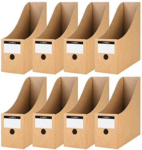 Koogel 8 Pcs File Magazine Holder, Cardboard Magazine Rack Document Storage File Divider Desktop Organizer with Labels