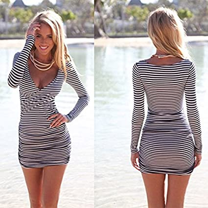8d09fa93911 Amazon.com  Czluo Sexy Women Summer Striped Bodycon Bandage Slim Evening  Party Cocktail Mini Dress multi-color M  Home   Kitchen