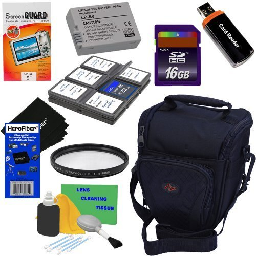 HeroFiber 9pc Bundle 16GB Accessory Kit w/LP-E8 Battery Pack Ultra Gentle Cleaning Cloth for Canon EOS Rebel T2i, T3i, T4i & T5i (550D, 600D, 650D & 700D) Digital SLR Cameras by HeroFiber (Image #9)