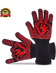 """BBQ Gloves Grill Gloves Oven Gloves 932°F Extreme Heat Resistant Gloves EN407 Certified 1 Pair 14"""" Long For Extra Forearm Protection BBQ Kitchen Oven Mitts (Red)"""