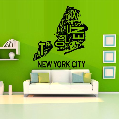 - Wall Decal Sticker Ny City Map New York America Mural Inscription Letter M1238