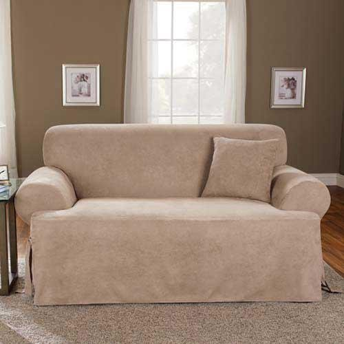 Sure Fit Soft Suede T-Cushion - Sofa Slipcover  - Taupe (SF38650)