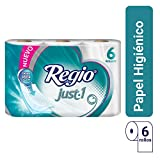 Papel Higiénico Just 1; Con Hojas Cuádruples 50% Mas Gruesas, Centro Suave; Marca Regio; 6 Rollos