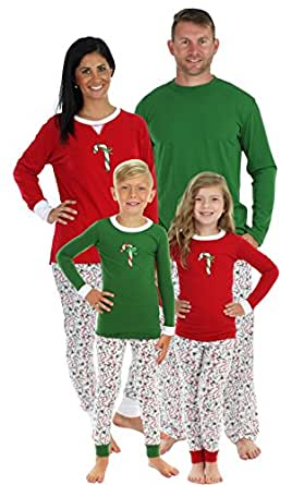 Sleepyheads Candy Cane Family Matching Pajama Set - Kids - Red Top (SHM-4035-K-RED-12)