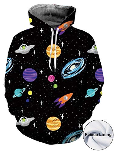 Goodstoworld Cool Unisex Galaxy Hoodie 3D Pockets Print Graphic Sweatshirt Pullover (Pink Hoodie Skull)