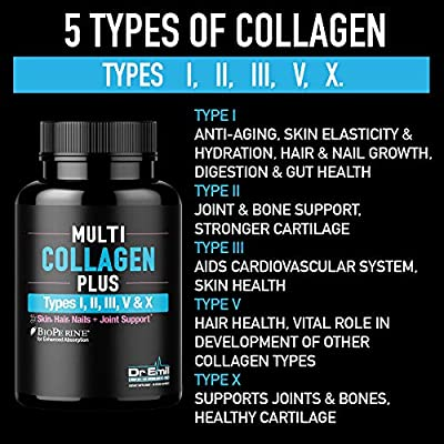 Multi Collagen Pills (Types I, II, III, V & X) - Collagen Peptides + Absorption Enhancer - Grass Fed Collagen Protein Supplement for Anti-Aging, Hair, Skin, Nails and Joints (90 Collagen Capsules)
