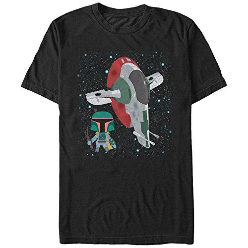 Star Wars Men's Cartoon Boba Fett Slave I Black T-Shirt -