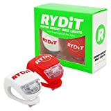 Rydit High Quality Set of 2 LED Super Bright Bike Lights: 1 Red (Rear Light), 1 White (Front Light)- Fits all sized Handlebars and Installs in Seconds! 3 Settings - Fast Flash, Slow Flash and Constant Light
