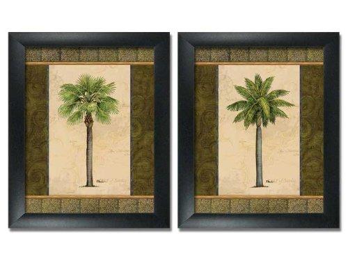 wallsthatspeak 2 Framed East Indies Palm Tree Art Prints Tropical Home Decor 8x10 (Framed Two Trees)