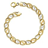 Leslie's 14k Two Tone Yellow Gold w/ White Rhodium; Polished, Brushed, Textured Oval Links Bracelet 7.5""