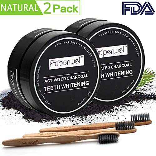 Teeth Whitening (2 Pack)? Auperwel Activated Charcoal Toothpaste Teeth Whitening Powder with 3 Bristles Bamboo Toothbrushes
