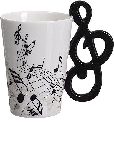 VENKON - Musik Keramiktasse mit Notenschlüssel als Henkel und Noten Verzierung in hochwertiger Geschenkbox - 200ml